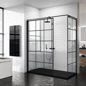 las mamparas black collection aportan el aut ntico estilo industrial en tu ba o ecoceram. Black Bedroom Furniture Sets. Home Design Ideas